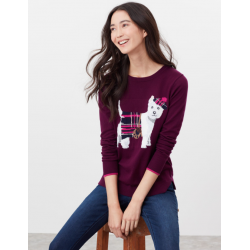 Joules Miranda Ladies Knitted Intarsia Jumper Purple Dog