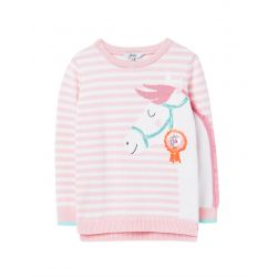 Joules Geegee Girls Intarsia Knit Jumper Pink Horse