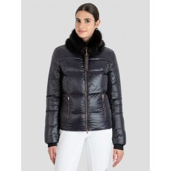 Equiline Down Jacket With Detachable Faux Fur Collar Black