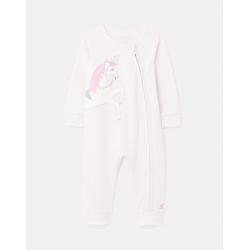 Joules Winfield Girls Cotton Zip Sleepsuit Lilac Stripe Unicorn