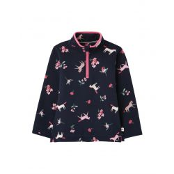 Joules Fairdale Printed Girls Half Zip Sweatshirt Navy Unicorn Floral