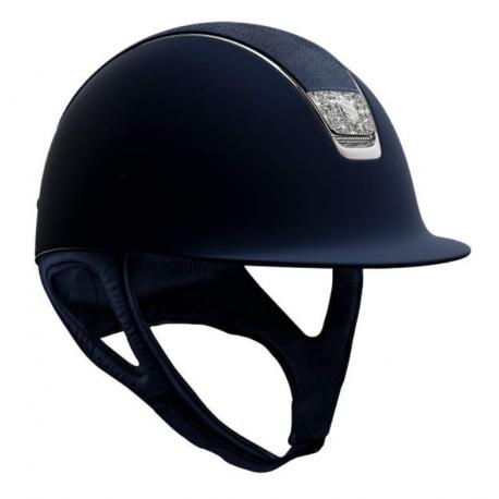 Samshield Shadowmatt Hat Crystal Fabric Blazon And Swarovski Blue Shield