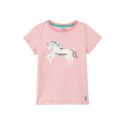 Joules Paige Squishy Artwork Girls T Shirt Pink Unicorn