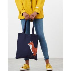 Joules Lulu Novelty Canvas Tote Bag Navy Fox