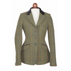 Shires Aubrion Saratoga Childs Tweed Jacket Red Yellow Blue Check