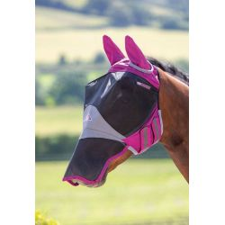 Shires Deluxe Fly Mask With Ears And Nose Burgundy