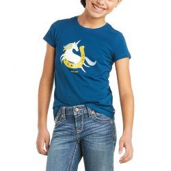 Ariat Unicorn Moon Girls T Shirt Blue Opal