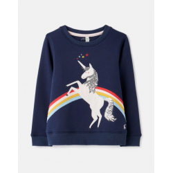 Joules Mackenzie Artwork Girls Sweatshirt Unicorn