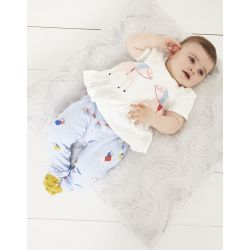 Joules Olivia Baby Girl Top And Trouser Set White Horses