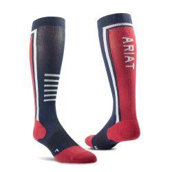 Ariat AriatTEK Slimline Performance Socks Navy Red