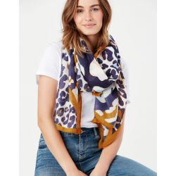 Joules River Lightweight Woven Printed Scarf Leopard Multi