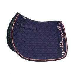 Hy Equestrian Exquisite Bit and Stirrup Collection Saddle Pad Navy