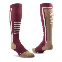 Ariat AriatTEK Slimline Performance Socks Windsor Wine Woodsmoke