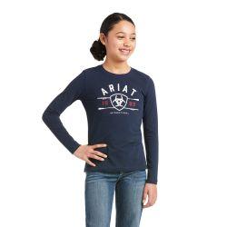 Ariat International Logo Kids Long Sleeved T Shirt Navy
