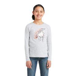 Ariat My Unicorn Girls Long Sleeved T Shirt Heather Grey