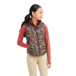 Ariat Emma Girls Reversible Insulated Vest Navy Floral Horse