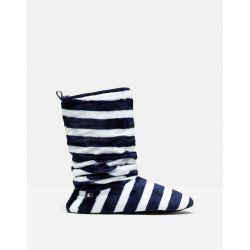 Joules Slouchy Ladies Slipper Sock Boots Cream Stripe