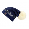 Cavallo Fendy Ladies Sequin Knitted Hat With Fake Fur Bobble