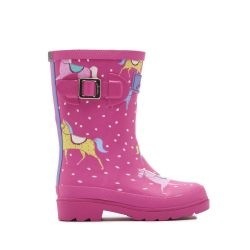 Joules Jnr Girls Welly Printed Pony Wellies