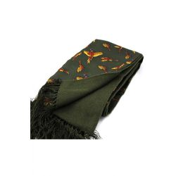 Soprano Flying Pheasants Silk With Lambswool Backing Scarf
